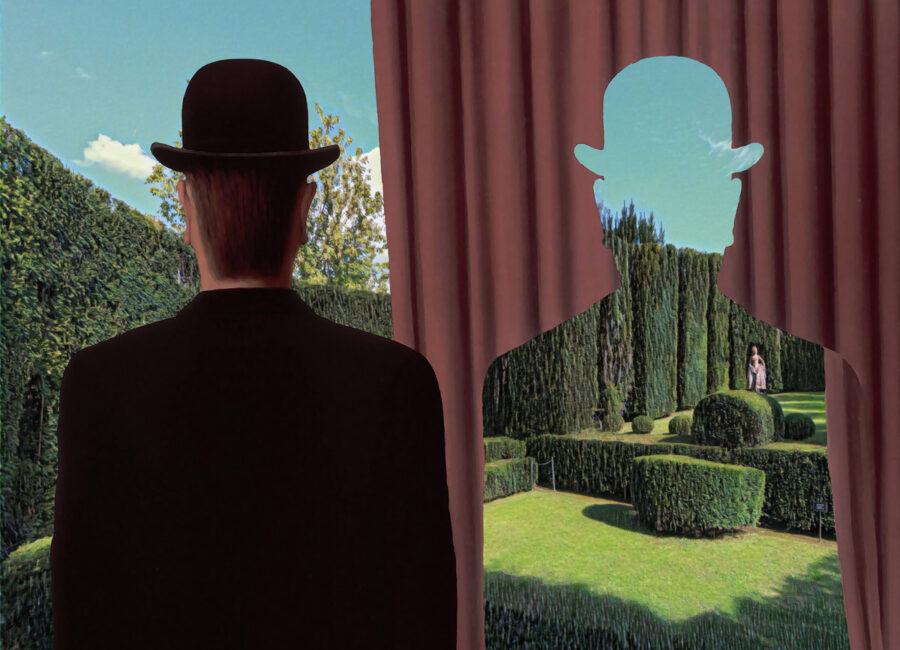 Teatro di Verzura Villa Reale di Marlia - dipinto Magritte